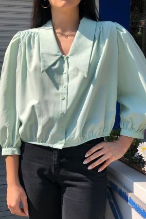 Mint Vatkalı Yaka Detaylı Gömlek