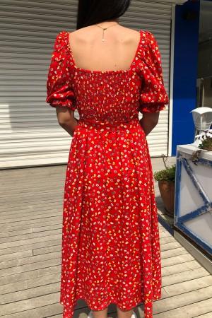 Kırmızı Çiçekli Balon Kol Elbise