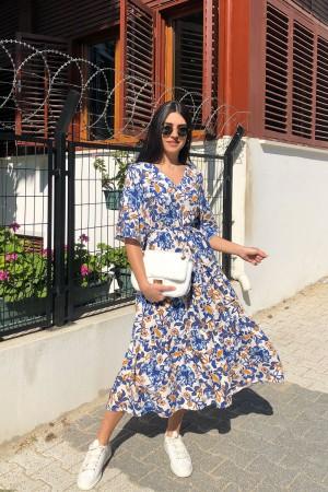 Mavi Çiçekli V Yaka Elbise