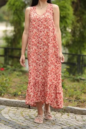 Kiremit Çıtır Desen Etek Ucu Fırfırlı Elbise