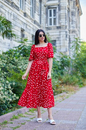 Kırmızı Balon Kol Puantiyeli Elbise