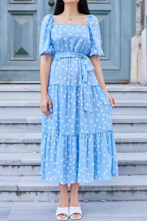 Light Mavi Balon Kol Puantiyeli Elbise