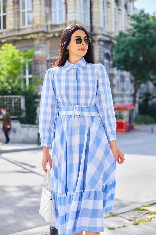 Mavi Kareli Uzun Elbise