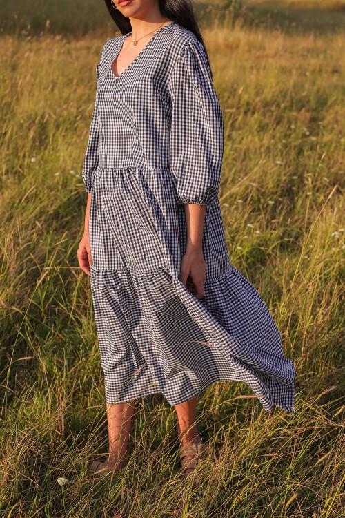 Mavi Pötikareli V Yaka Elbise