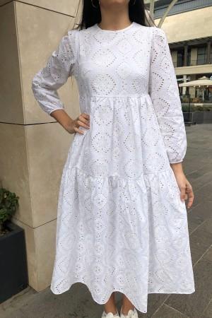 Beyaz Fistolu Astarlı Elbise