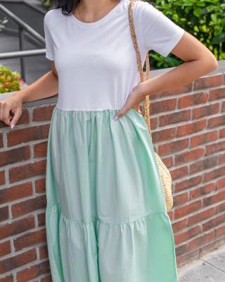 Yeşil Altı Poplin Detaylı Elbise