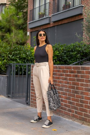 Beige High Waist Belted Fabric Trousers