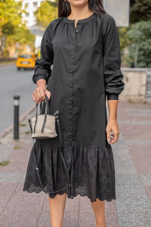 Black Undershirt Detail Shirt Dress