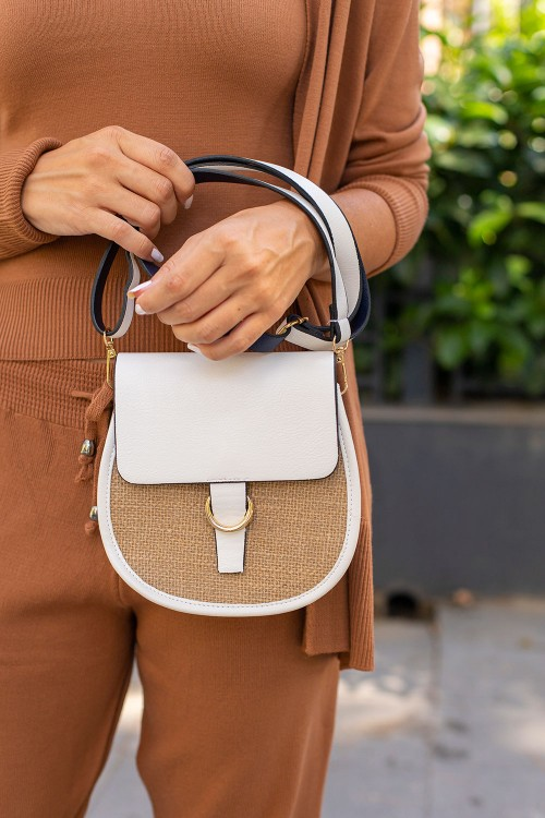 White Straw Detail Handled Bag