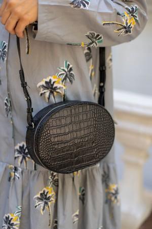 Black Artificial Snakeskin Handle Bag