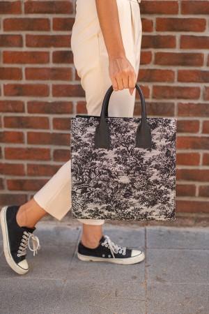 Black Patterned Hand Bag