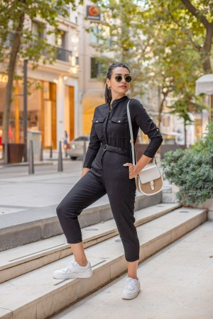 Black Pocket Detailed Long Sleeve Jumpsuit