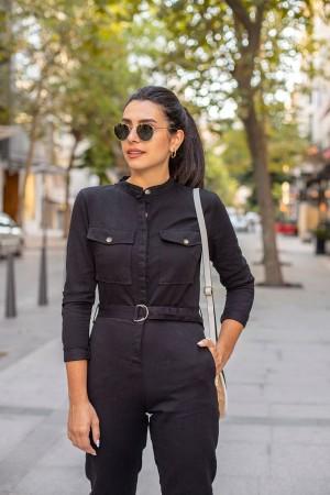 Black Pocket Detailed Long Sleeve Jumpsuit