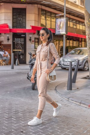 Beige Pocket Detailed Long Sleeve Jumpsuit