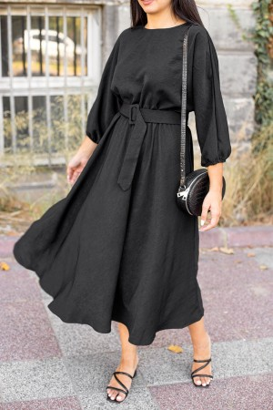 Black Waist Belt Dress