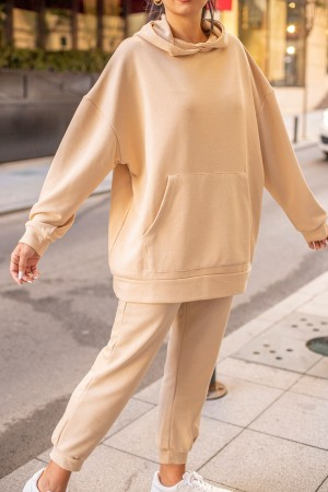 Beige Hooded Tracksuit Set
