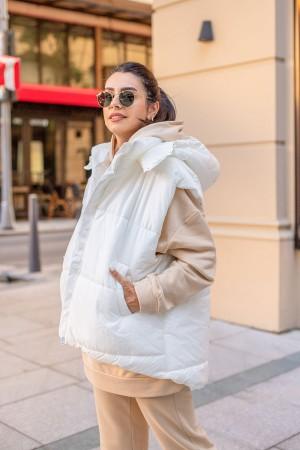 White Hooded Puffer Vest