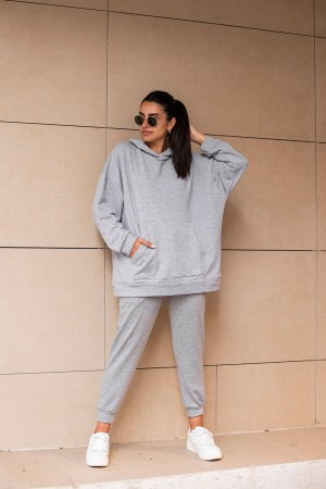 Gray Hooded Tracksuit Suit