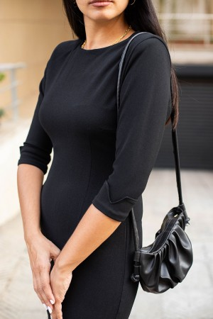 Black Zipper Back Pencil Dress