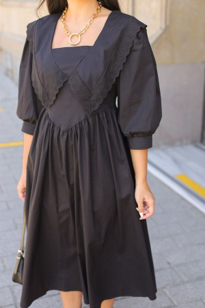 Black Scalloped Detail Vintage Dress