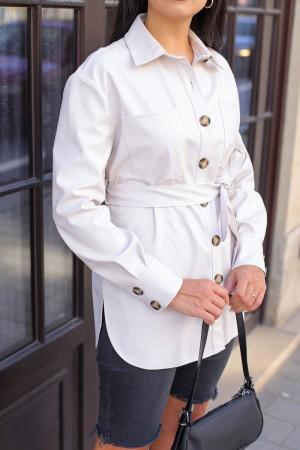 Ecru Belted Leather Shirt Jacket