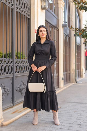Black Waist Gathered Long Dress