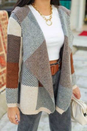 Brown Square Pattern Hooded Cardigan