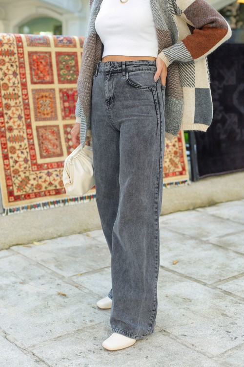 Anthracite Wide Leg Trousers