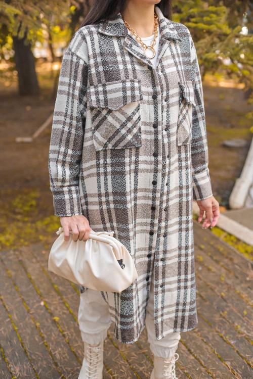 Brown Plaid Long Shirt