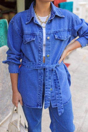 Blue Belted Denim Shirt