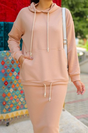 Beige Hooded Skirt Suit