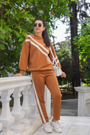 Brown White Striped Tracksuit