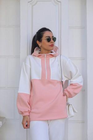 Pink Zipper Detailed Sweatshirt