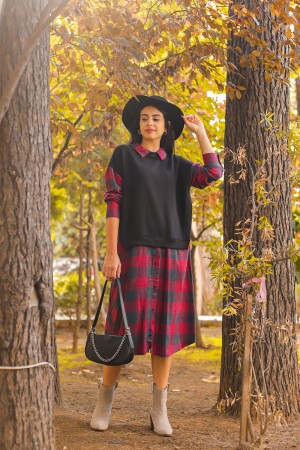 Black Plaid Shirt Collar Dress