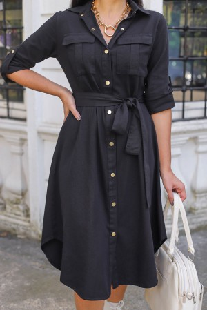 Black Snap Shirt Dress