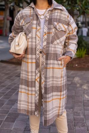 Beige Checkered Lined Long Shirt
