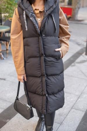 Black Hooded Long Puffer Vest