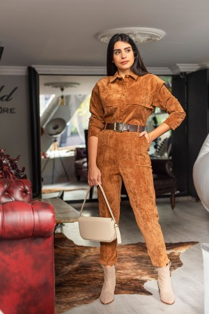 Camel Belted Velvet Fabric Jumpsuit