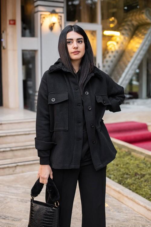 Black Collar Fur Detailed Jacket