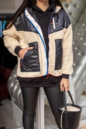 Cream Colored Zipper Detail Hooded Plush Jacket