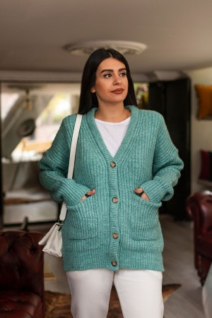 Mint Green Thessaloniki Knitted Cardigan