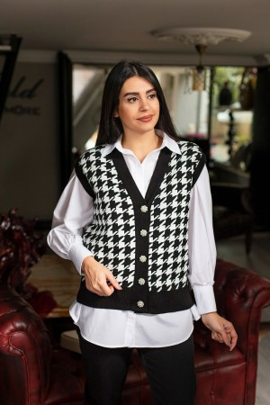 Black Houndstooth Pattern Stone Button Cardigan