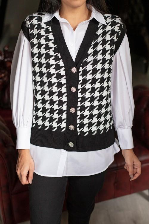 Black Houndstooth Pattern Stone Button Cardigan