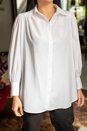 White Balloon Sleeve Poplin Shirt