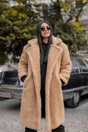 Camel Plush Button Lined Long Coat
