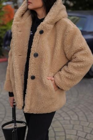 Camel Plush Hooded Lined Coat