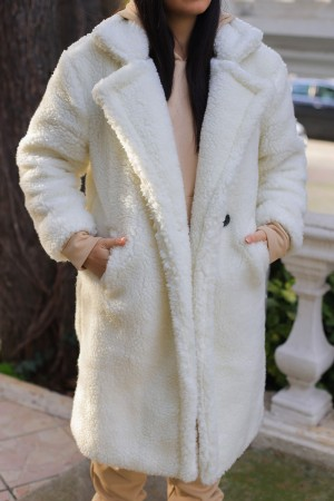 White Plush Button Lined Long Coat