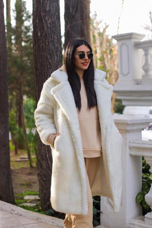 White Plush Button Lined Long Coat