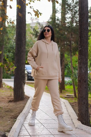 Cream Hooded Tracksuit Set