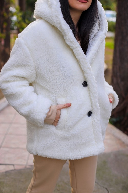 White Plush Hooded Lined Coat